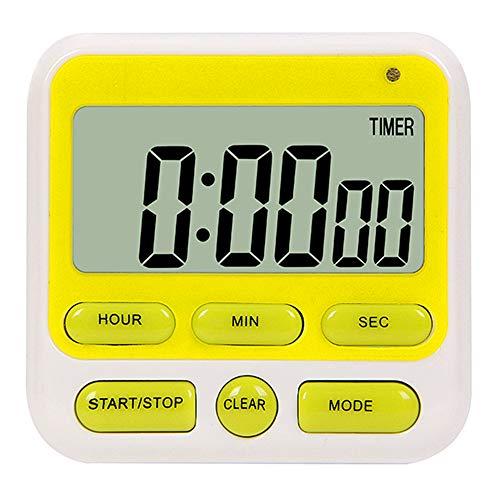 Reloj despertador, temporizador de cocina, temporizador digital, temporizador electrónico LCD, reloj con soporte de pie, luz de flash y intensidad de sonido ajustable. verde