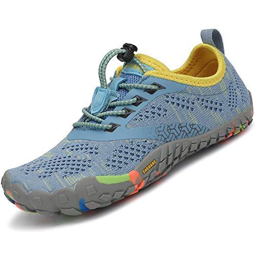 SAGUARO Zapatillas de Trail Niñas Calzado Descalzos Niños Zapatillas de Deporte Fitness Correr en Asfalto Transpirables Minimalistas Barefoot Zapatos Senderismo Antideslizantes Exterior Turquesa 34 EU