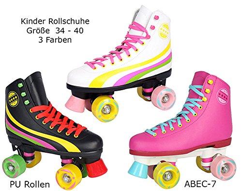 Sell-tex Rollschuhe für Kinder Rollerskates NEU Gr. 34 35 36 37 38 39 40 Pink weiß schwarz (35, weiß)