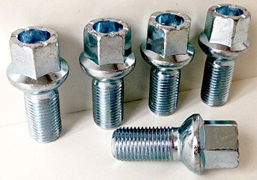 Lot de 5 boulons de roue en alliage zingué M14 x 1,5 (M14 x 1,5) à tête hexagonale 17 mm Longueur du filetage 27 mm (AU003)