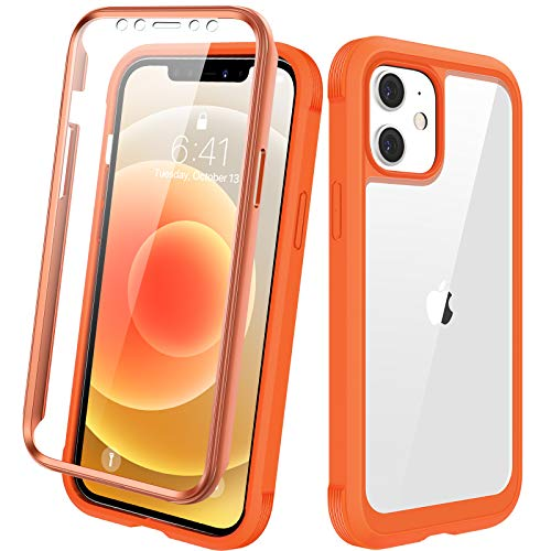 """Diaclara Designed for iPhone 12/12 Pro Case, Full Body Rugged Case with Built-in Touch Sensitive Anti-Scratch Screen Protector, Soft TPU Bumper Case for iPhone 12/12 Pro 6.1"""" (Orange and Clear)"""