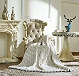 Lindsey Home Fashion Faux Fur Throw, Blankets for Bed Super Soft Fiber, Mink, Wolf, Bear, Coyote, 60'x84', 60'x70', 60'x60' (60x60(INCH), Geometric White Wolf)