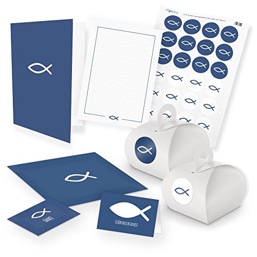 itenga Set Fisch 24x Gastgeschenkboxen mit Griff 24x Danksagung 24x Tischkarte 12x Klappkarte A6 12x Postkarte Kommunion Konfirmation Taufe Einladung (blau)
