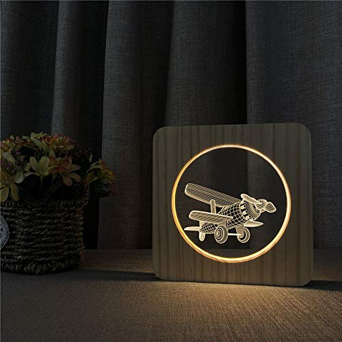 Old-Fashioned Aircraft Type Wick Shape 3D LED Acrylic Wood Night Light Table Light Switch Control Light Children's Room Decoration