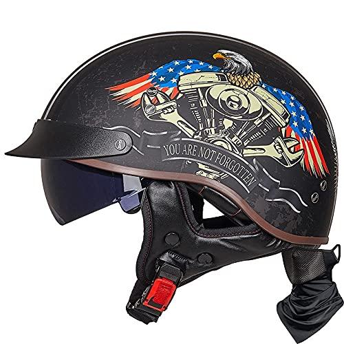Vintage Casco De Motocicleta con Visera Casco De Moto Medio Abierto ECE Homologado Casco Moto Jet Casco Ligero Y Cómodo para Hombres/Mujeres Adultos Casco Jet para Moto I,M=(55~56cm)