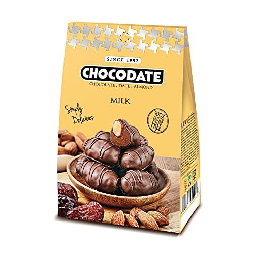 Milchschokolade, Glutenfreie Milchschokolade mit arabischen Datteln und goldgerösteten Mandeln, Handgemachte, nicht gentechnisch veränderte belgische Schokoladenleckereien - 80g