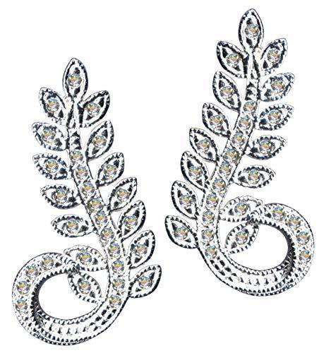 Pendientes de plata de estilo modernista con rama de palmera, color blanco, plata de ley 925, circonitas, cristales brillantes, plata de ley 925, símbolo de amor, diseño de objeto, color blanco
