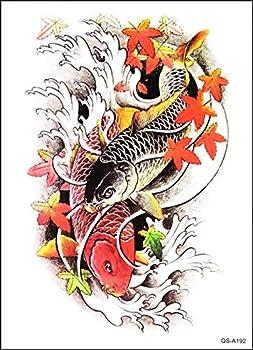GS912 Tattoo 8.2  X5.7   Japanese Asian Koi Carp Fish Large Temporary Tattoos 3D for men women Designs Body Fake Tattoo Cartoon Sticker Paper Style Vintage Old School Tattoo 3D