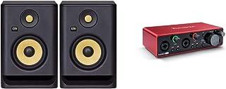 "KRK RP5 Rokit 5 G4 Professional Bi-Amp 5"" Powered Studio Monitor Pair, Black & Focusrite Scarlett 2i2 (3rd Gen) USB Audio Interface with Pro Tools   First"