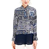 E-girl E6899 - Blusa de seda para mujer, 100% seda, cuello de camisa de manga larga azul 42