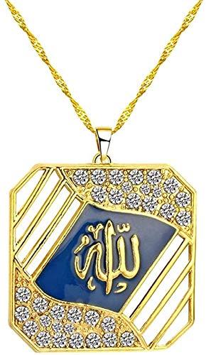 LKLFC Collar Mujer Collar Hombre Collar Profeta Allah Collares Pendientes Collares islámicos de Color Dorado Joyas Musulmanas Gargantilla Collar religioso Colgante Collar Niñas Niños Regalo