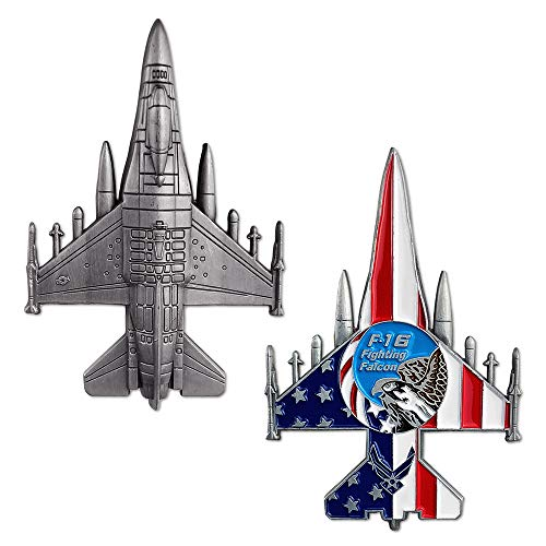 US Air Force F-16 Fighting Falcon Challenge Coin Military Aircraft Shaped Airman Gift