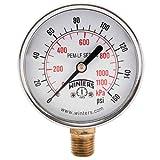 Winters PEM215LF PEM-LF Series Pressure Gauge, 2.5' Dial size, 1/4' NPT, 0/160 psi/kpa, ±3-2-3% accuracy
