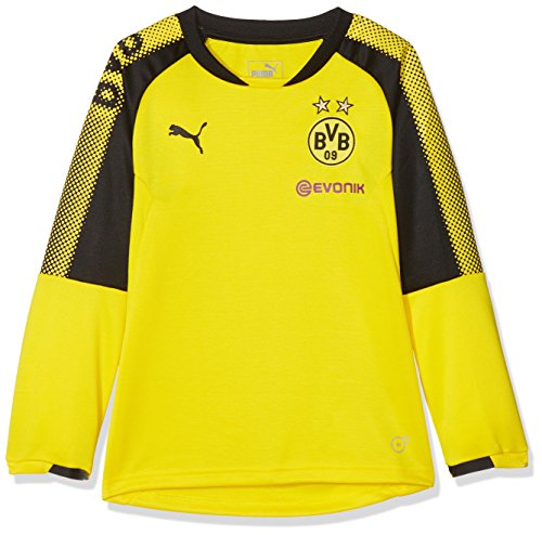 PUMA Kinder Mantel BVB Training Sweat with Sponsor Logo, Cyber Yellow-puma Black, 164, 751775 01