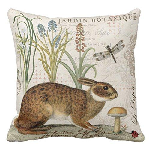 Fundas de Cojines Housses de Coussin décoratives à fermeture éclair Botanical Modern French Rabbit in Garden Flowers