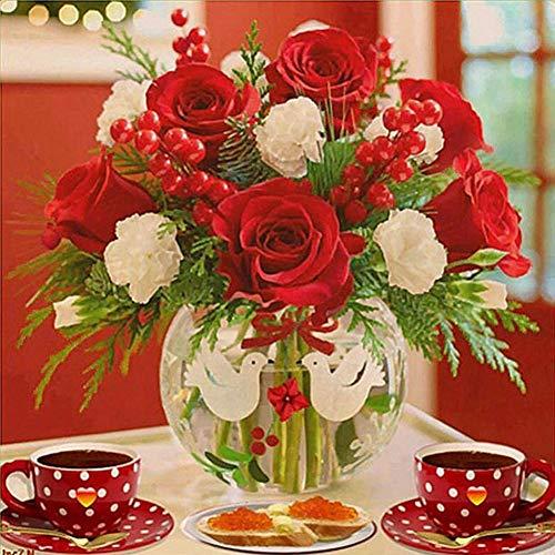 LzxcJ Diamond Painting Red Flower Coffee Full Drill Mosaic DIY Diamond Painting Cross Stitch Embroidery Home Decorative Craft 11.8 X 11.8 Inch