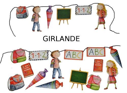 alles-meine.de GmbH 3m Girlande Schulanfang - Kinder Party Schuleinführung Schule Schulbeginn Fest Dekoration Schultüten