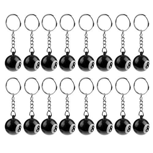 MagiDeal 16 Stück/Set Schlüsselanhänger - Billiard Keychain Kugelform mit Schlüsselring (Kugel-Durchmesser: 2,5 cm) - Schwarz