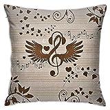 Copricuscini Decorativi Quadrato Federe,Notazione Musicale,Federe Cuscini Divano Confortevole Decorativo,45×45cm