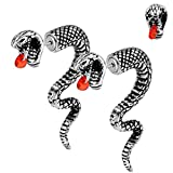 OUFER 2PCS Fake Lobe Earrings 18G Burn Silver Earrings Cobra Fake Spiral Tapers Fake Gauges Faux Plug Taper 3D Cobra Body Piercing Jewelry