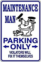 メンテナンスマン駐車場のみ金属スズサイン通知街路交通危険警告耐久性、防水性、防錆性
