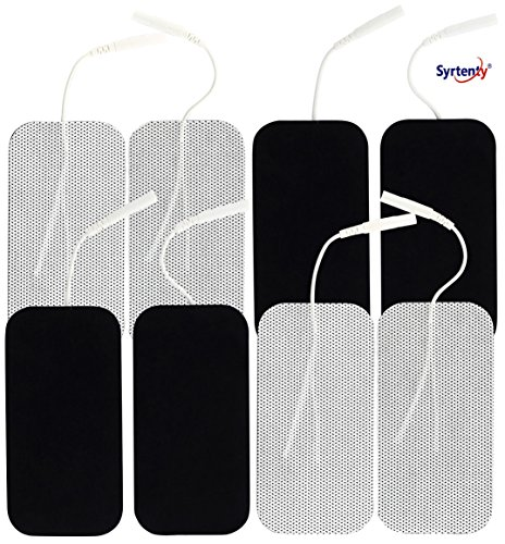 Syrtenty TENS Unit Electrodes Pads 2'x4' - 8 Pcs Replacement Pads Electrode Patches For Electrotherapy
