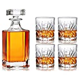 Juego de Vasos de Whisky Decantador de Whisky 1 Botella de Vino de 26,7oz + 4 Vasos de Vidrio de 9,8 oz con Grabado de Licor, Caja de Regalo Para Vasos de Cóctel Para Whisky, Bourbon o Vodka