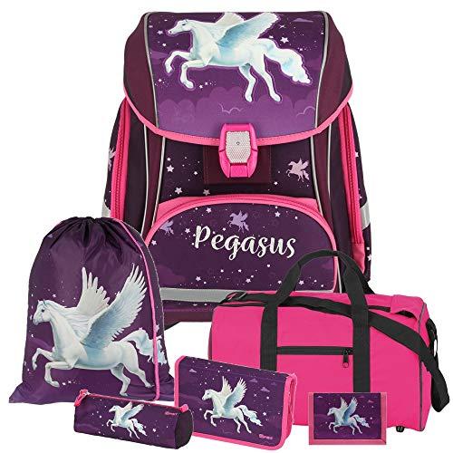 Pegasus - Einhorn Pferd - Spirit SMART Leicht-Schulranzen-Set mit BLINKENDEM LED-Schloss 6-teilig mit Sporttasche