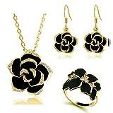 Shuda – Parure de bijoux élégante pour femme avec collier, bague et boucles d'oreilles, motif rose noire 2*2cm doré