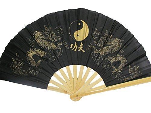 Grand Ying-Yang Dragon noir ou rouge Chinois Japonais Oriental Burlesque Danse Déguisement Geisha Décoratif éventail 13\