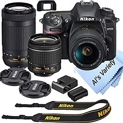 Nikon D7500 DSLR Camera Kit with 18-55mm VR + 70-300mm Zoom Lenses | Built-in Wi-Fi | 20.9 MP CMOS Sensor | EXPEED 5 Image Processor and Full HD 1080p | SnapBridge Bluetooth Connectivity by Nikon Intl