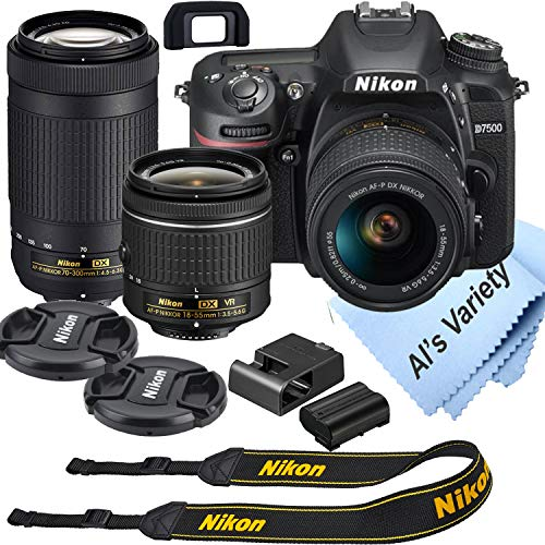 Nikon d7500 dslr camera kit with 18-55mm vr + 70-300mm zoom lenses | built-in wi-fi | 20. 9 mp cmos sensor | expeed 5 image processor and full hd 1080p | snapbridge bluetooth connectivity