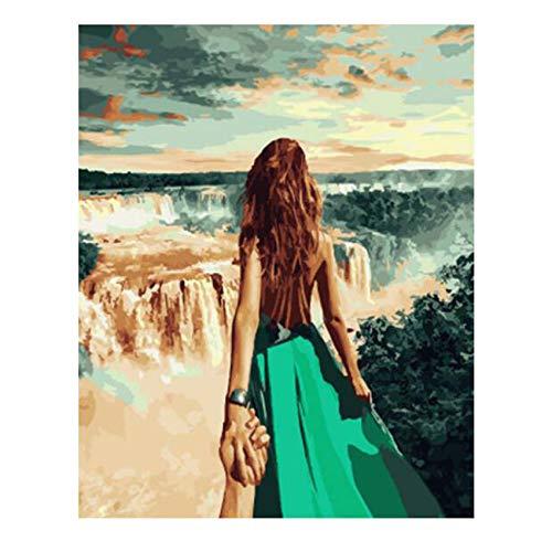 Wfmhra En En Pareja Viaje Cascada Pintura al óleo enmarcada Cartel acrílico Pintura al óleo Moderna Cartel Pintura al óleo Arte 70x90cm sin Marco