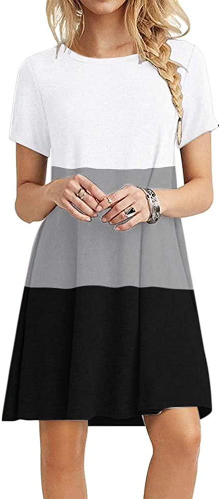 Women's Short Sleeve Crew Neck Swing Dresses Color Block Summer Loose Casual A-line T-Shirt Dress