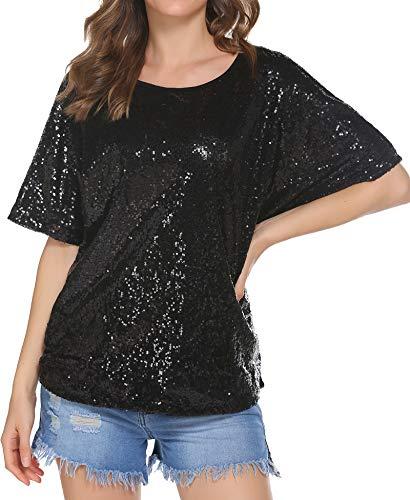 Damen Glitzer Shirt Pailletten Bluse Sequin Oberteile Party Tunika Sparkle Shine Tops Schwarz M