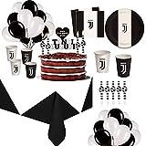 Kit de mesa de cumpleaños Juventus con vela y topper para tarta | Globos platos, vasos, servilletas Juventus con mantel | Accesorios de decoración para regalo infantil a juego Juve blanco y negro