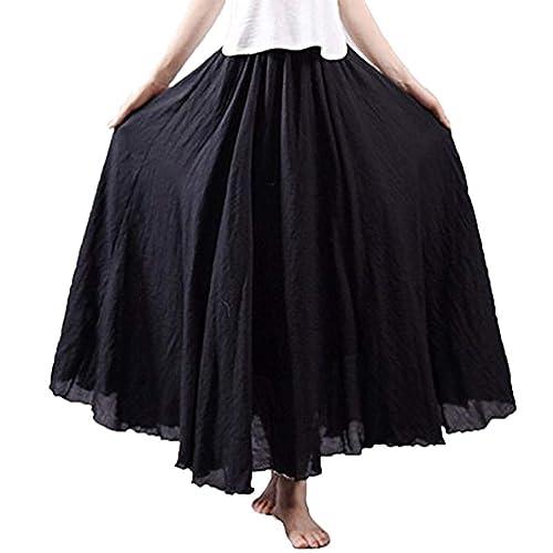26f03c5ab0 NREALY Falda Women s 3 4 Bohemian Style Elastic Waist Band Cotton Linen  Long Maxi Dress