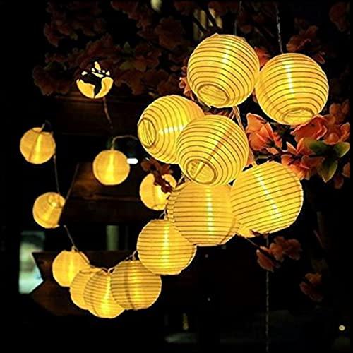 Ittba 20/30 Luz Solar LED al Aire Libre Bola Linterna Impermeable Lámparas solares Guirnalda Globo Luz Hadas para Navidad Jardín Árbol Decoración Boda Luz(30LED Blanco cálido)