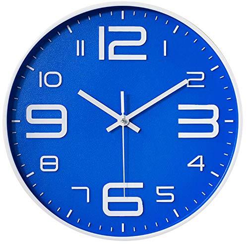 TOKTEKK Wanduhr, geräuschlos, nicht tickend, dekorativ, batteriebetrieben, runde Uhren für Zuhause, Büro, Schule, Wohnzimmer, Schlafzimmer, Küche, 30,5 cm, leicht zu lesen (Blu-B)