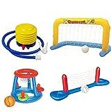 EFGS Parque De Atracciones Red Voleibol Piscina 2.44m, Lujoso Porteria Hinchable para Piscina, Pool Toys con Bomba De Pie De Fuelle De Plástico Pjuegos Deportivos Entretenido