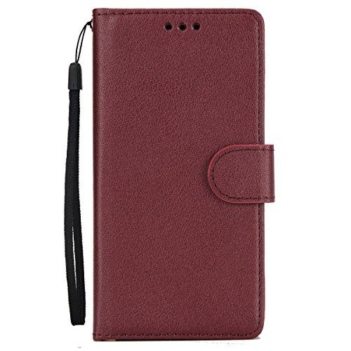 Ysimee Coque Samsung Galaxy S6, Étui Portefeuille Magnétique en Cuir Couleur Unie Mince Housse Con Antichoc TPU Bumper Porte-Cartes Fonction Support Folio Coque à Rabat pour Galaxy S6,Rouge Foncé