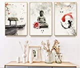 DYCUN Lienzo Pintura China Ink Flowers Buda Arte de Arte Imprimir Imagen HD Impresas Imágenes Lienzo Pintura Póster para Sala de estar Sin marco (Color : 3pcs set, Size (Inch) : 60X80cm)