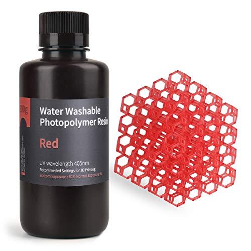 ELEGOO Lavable con Agua Impresora 3D Resina rápida para Impresora 3D LCD Resina de Curado UV Resina de Fotopolímero Estándar de 405 nm para Impresión LCD 3D 500Gram Rojo Claro