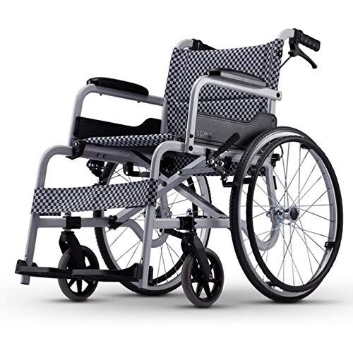 Wheelchair Autopropulsado Silla de Ruedas, Doblar multifunción Luz con Freno neumático Inflable Fuerte y Resistente de Tercera Edad/discapacitados Carretilla Scooter