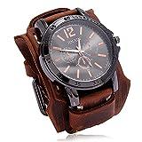 Shmtfa Atmosphere Relojes Vintage para Hombre Reloj De Pulsera De Cuarzo AnalóGico Cuero Cosido A Mano, No Impermeable Pulsera Ancha De Cuero para Accesorios De MuñEca con Personalidad(marrón)