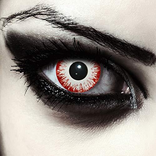 """Designlenses, Dos lentillas de color blanco y rojo para Halloween zombie disfraz lentillas sin dioprtías/corregir + gratis caso de lente """"Zombie Fear"""""""