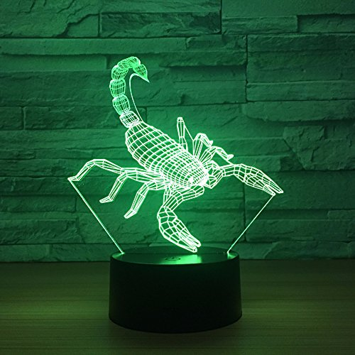 Blase Fisch 3D LED Lampe 7 Farbe Ändern Skorpion Lampe USB Katze Laden Tisch Lampen Erstaunliche Geschenke für Kinder Lava Lampe baby Zimmer Lampe Deco Skorpion Eine Größe