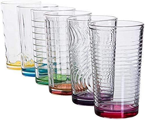 Astor24 PREMIUM Gläser Bunt – 6er Set Trinkgläser – Robust und Langlebig – Buntes Design – Wassergläser - 300ml (320)