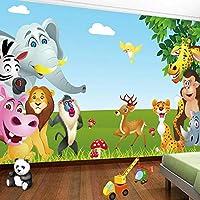 3D壁画壁紙漫画鳥象猿動物世界子供寝室赤ちゃん部屋の装飾画像壁画-200x140cm