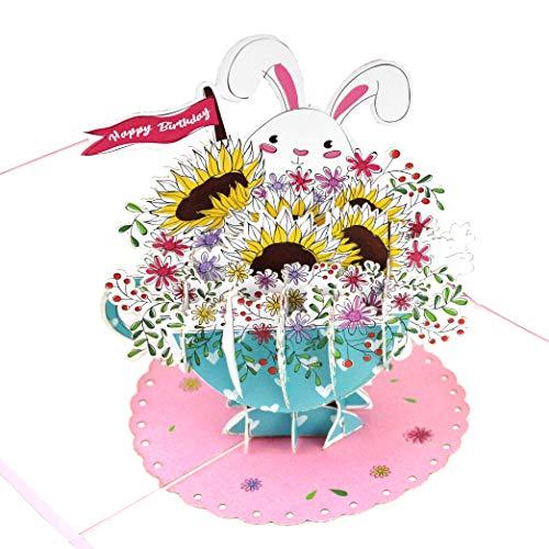 3D Geburtstagskarte - Happy Birthday Hase mit Blumenstrauß & Sonnenblume - Klappkarte zu Ostern mit Umschlag, kreativ Pop-Up 3D-Karte zum Geburtstag